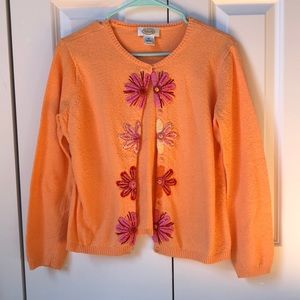 orange Talbots cardigan with flower detailing